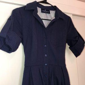 Navy blue seersucker dress